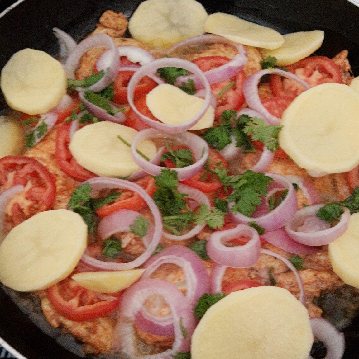 Filé de frango com batatas ao molho shoyu e mostarda