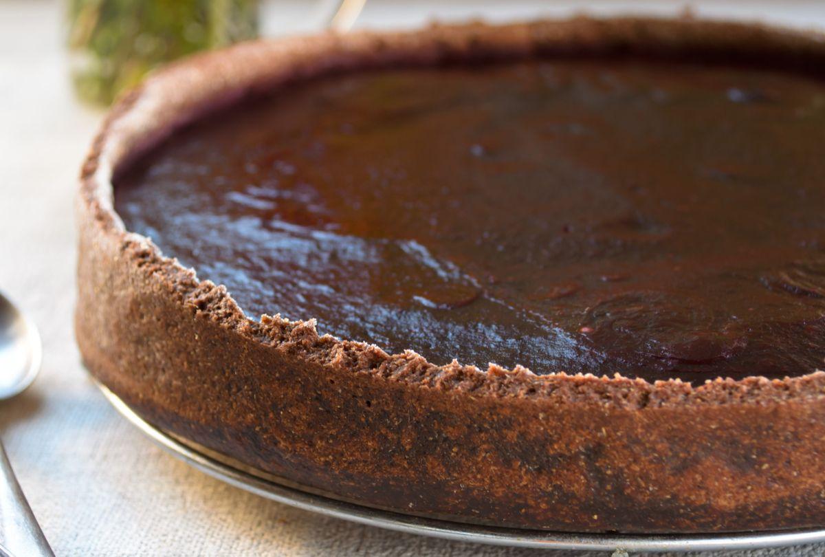 Torta de nozes com chocolate